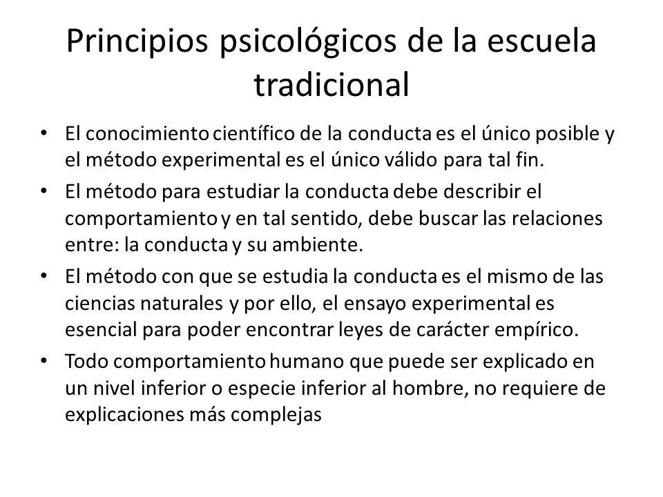 Principios psicológicos de la escuela tradicional El conocimiento científico de la conducta es el único posible y el método experimental es el único v