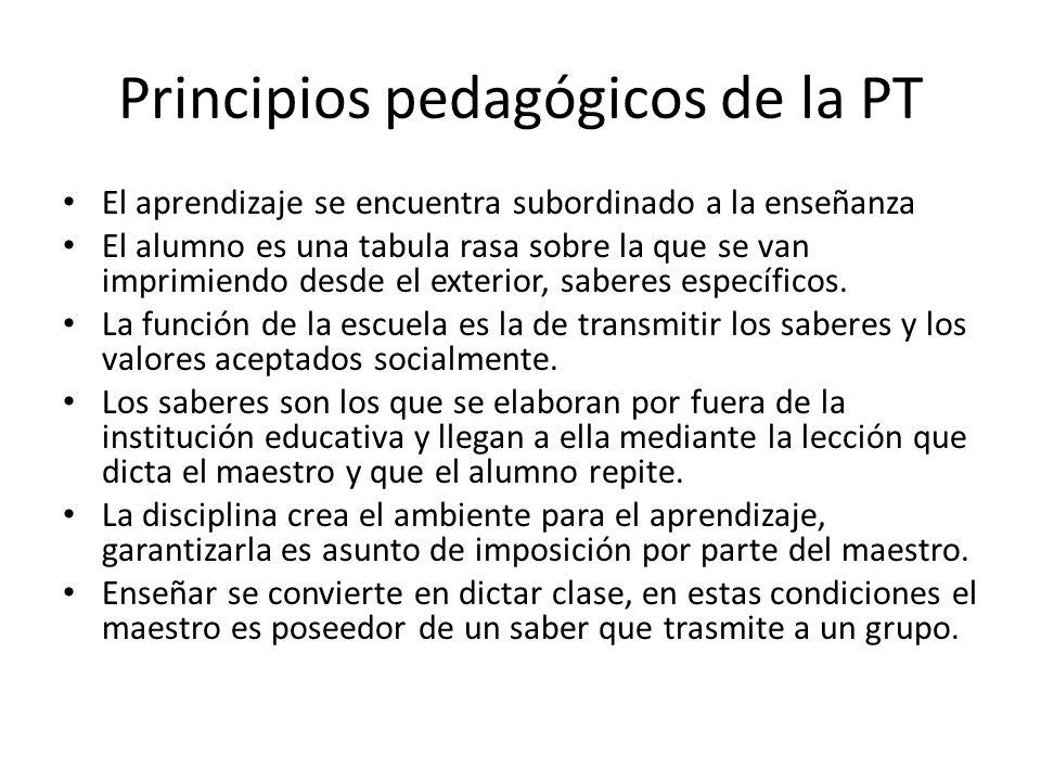 Principios pedagógicos de la PT El aprendizaje se encuentra subordinado a la enseñanza El alumno es una tabula rasa sobre la que se van imprimiendo de