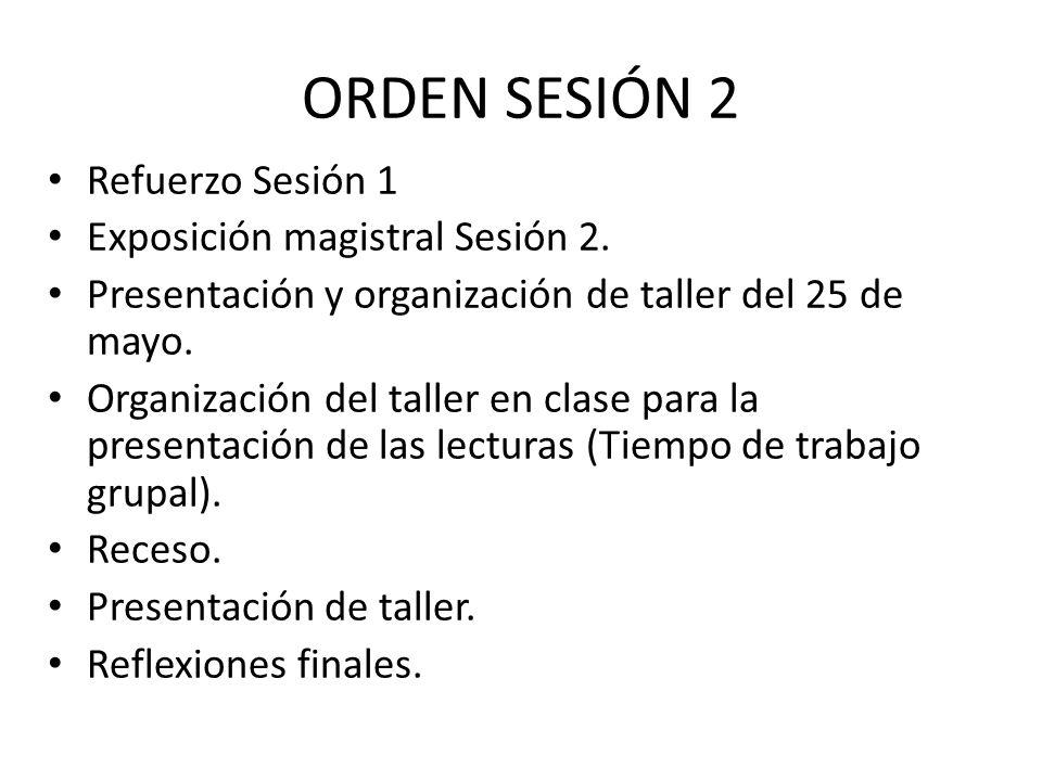 ORDEN SESIÓN 2 Refuerzo Sesión 1 Exposición magistral Sesión 2. Presentación y organización de taller del 25 de mayo. Organización del taller en clase