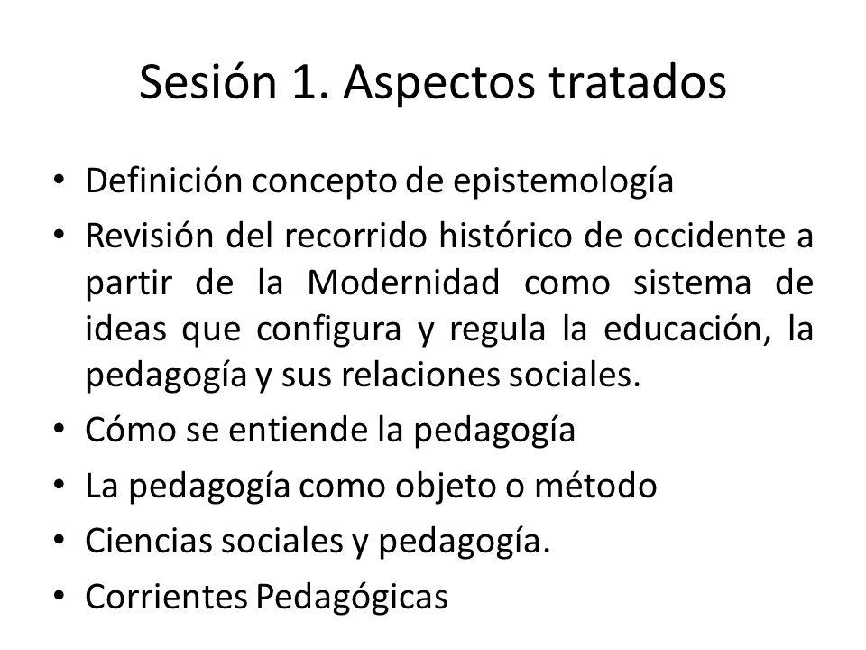 Sesión 1. Aspectos tratados Definición concepto de epistemología Revisión del recorrido histórico de occidente a partir de la Modernidad como sistema