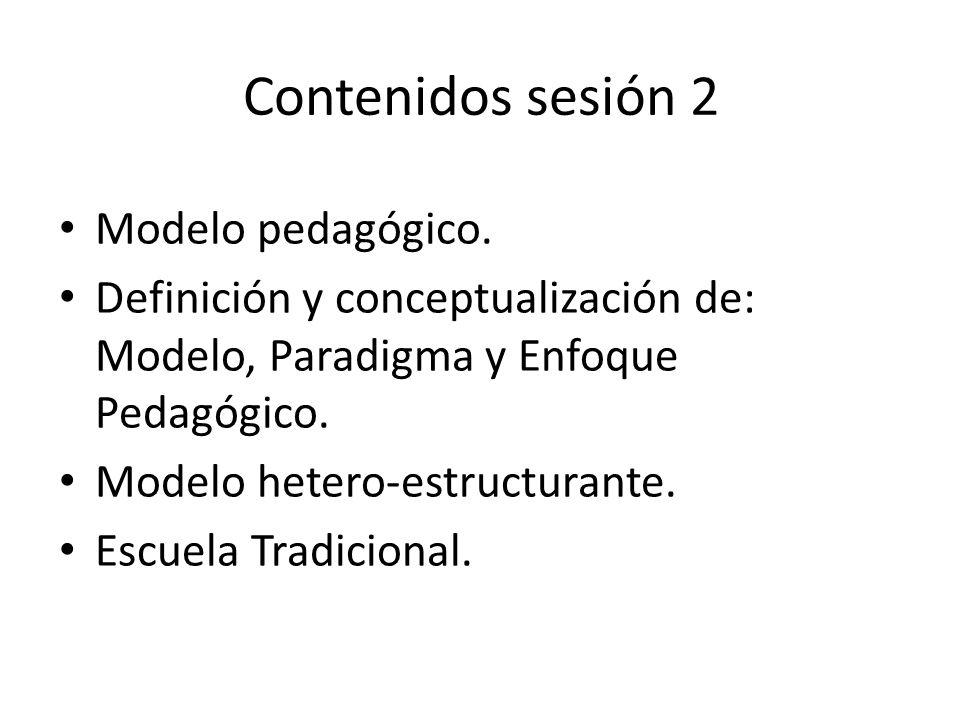 Contenidos sesión 2 Modelo pedagógico. Definición y conceptualización de: Modelo, Paradigma y Enfoque Pedagógico. Modelo hetero-estructurante. Escuela