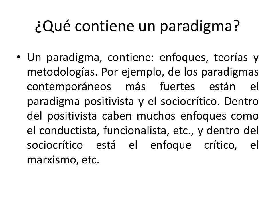 ¿Qué contiene un paradigma? Un paradigma, contiene: enfoques, teorías y metodologías. Por ejemplo, de los paradigmas contemporáneos más fuertes están