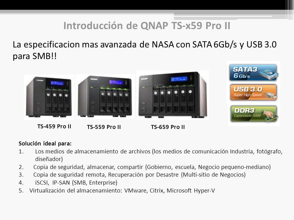 Introducción de QNAP TS-x59 Pro II La especificacion mas avanzada de NASA con SATA 6Gb/s y USB 3.0 para SMB!.