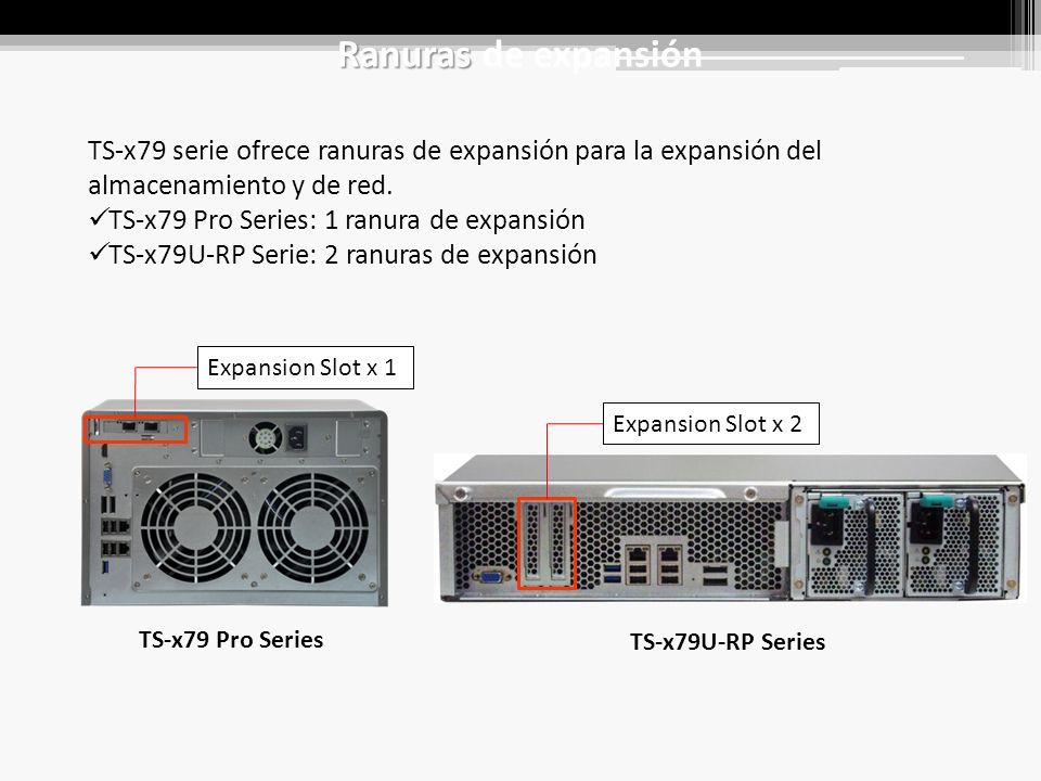 Ranuras Ranuras de expansión TS-x79 serie ofrece ranuras de expansión para la expansión del almacenamiento y de red.