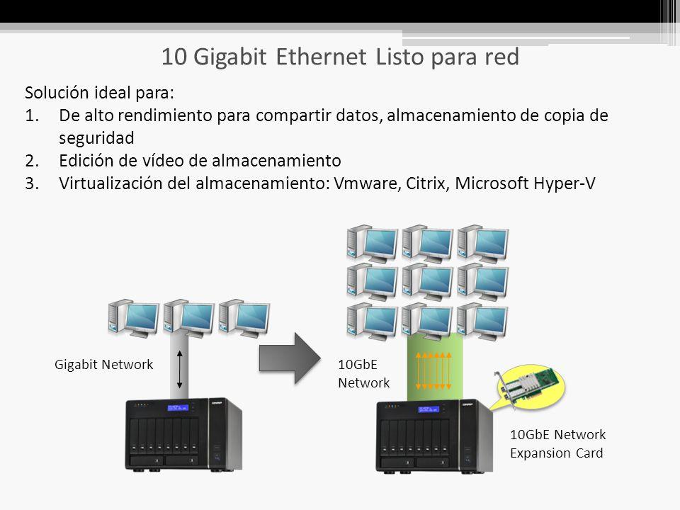 10 Gigabit Ethernet Listo para red Solución ideal para: 1.De alto rendimiento para compartir datos, almacenamiento de copia de seguridad 2.Edición de vídeo de almacenamiento 3.Virtualización del almacenamiento: Vmware, Citrix, Microsoft Hyper-V 10GbE Network Expansion Card 10GbE Network Gigabit Network