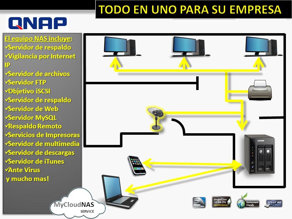 El equipo NAS incluye: Servidor de respaldo Servidor de respaldo Vigilancia por Internet IP Vigilancia por Internet IP Servidor de archivos Servidor de archivos Servidor FTP Servidor FTP Objetivo iSCSI Objetivo iSCSI Servidor de respaldo Servidor de respaldo Servidor de Web Servidor de Web Servidor MySQL Servidor MySQL Respaldo Remoto Respaldo Remoto Servicios de Impresoras Servicios de Impresoras Servidor de multimedia Servidor de multimedia Servidor de descargas Servidor de descargas Servidor de iTunes Servidor de iTunes Ante Virus Ante Virus y mucho mas y mucho mas.