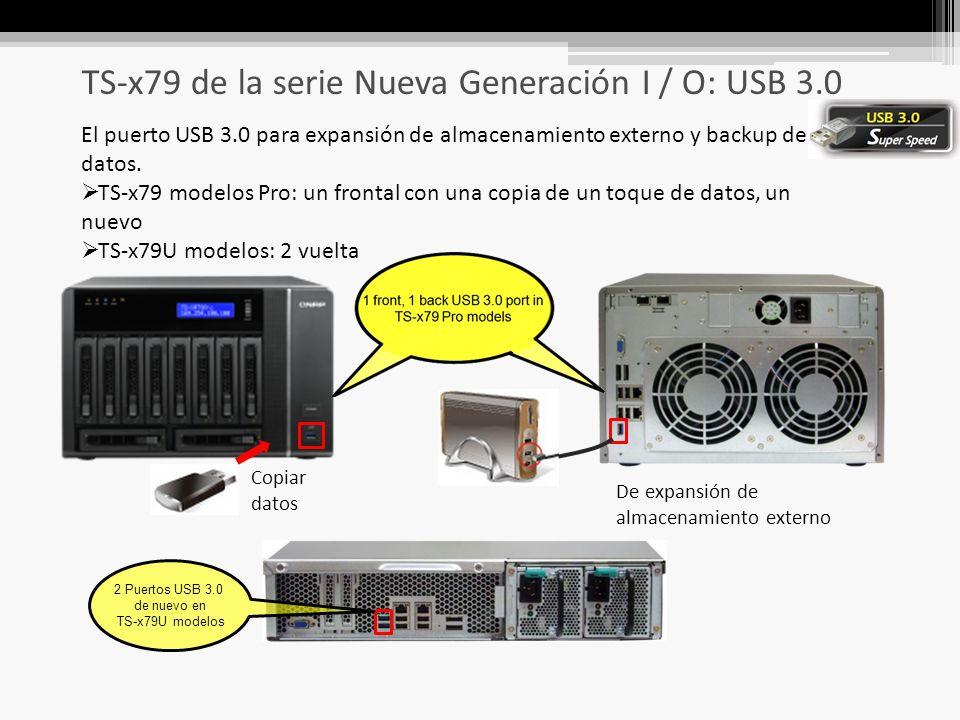 TS-x79 de la serie Nueva Generación I / O: USB 3.0 El puerto USB 3.0 para expansión de almacenamiento externo y backup de datos.