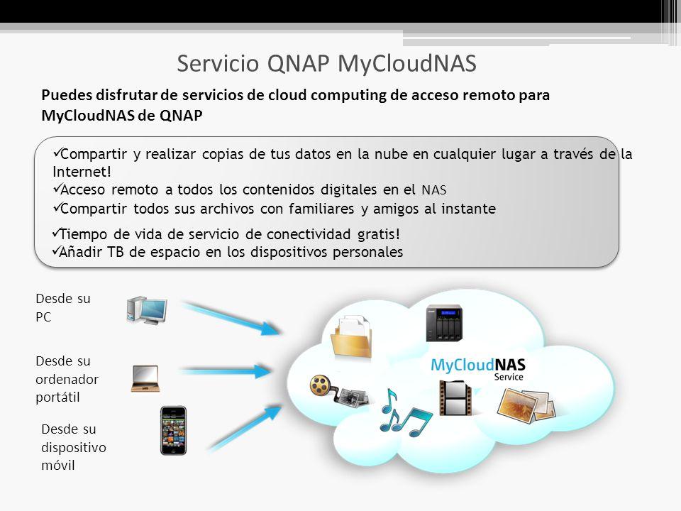 Servicio QNAP MyCloudNAS Compartir y realizar copias de tus datos en la nube en cualquier lugar a través de la Internet.
