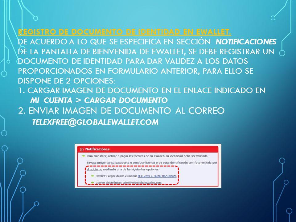 REGISTRO DE DOCUMENTO DE IDENTIDAD EN EWALLET.