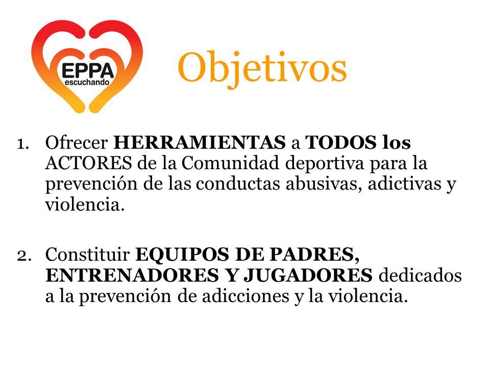 Objetivos 1.Ofrecer HERRAMIENTAS a TODOS los ACTORES de la Comunidad deportiva para la prevención de las conductas abusivas, adictivas y violencia.
