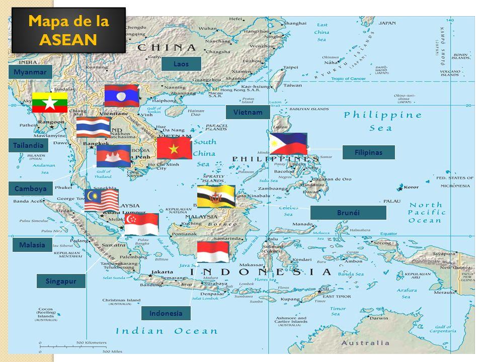 Mapa de la ASEAN Myanmar Tailandia Camboya Malasia Singapur Indonesia Brunéi Filipinas Vietnam Laos