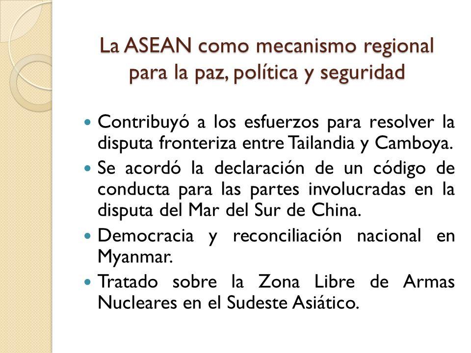 La ASEAN como mecanismo regional para la paz, política y seguridad Contribuyó a los esfuerzos para resolver la disputa fronteriza entre Tailandia y Ca