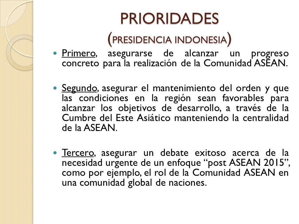 PRIORIDADES ( PRESIDENCIA INDONESIA ) Primero, asegurarse de alcanzar un progreso concreto para la realización de la Comunidad ASEAN. Segundo, asegura
