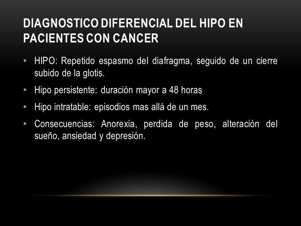 DIAGNOSTICO DIFERENCIAL DEL HIPO EN PACIENTES CON CANCER HIPO: Repetido espasmo del diafragma, seguido de un cierre subido de la glotis. Hipo persiste