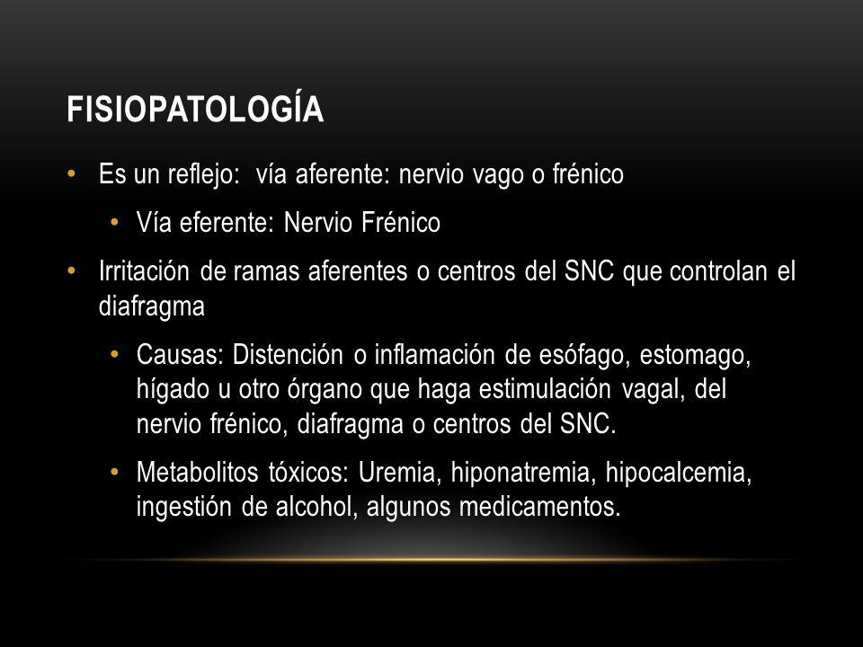 FISIOPATOLOGÍA Es un reflejo: vía aferente: nervio vago o frénico Vía eferente: Nervio Frénico Irritación de ramas aferentes o centros del SNC que con