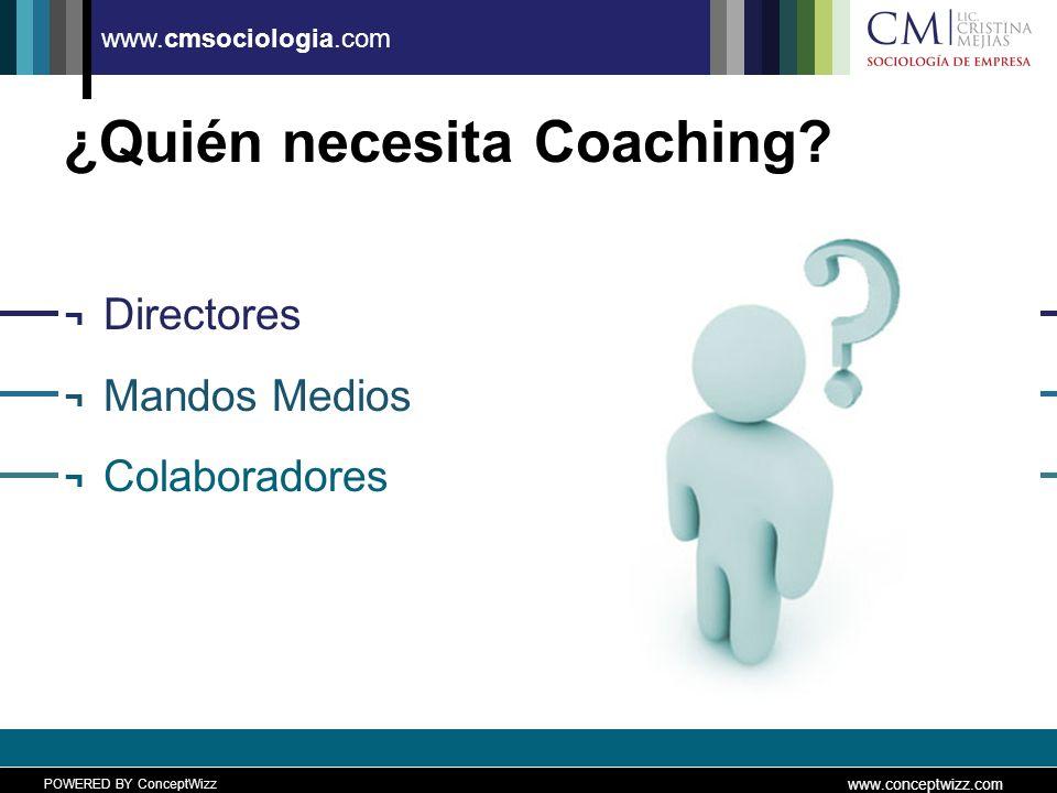 POWERED BY ConceptWizz www.conceptwizz.com www.cmsociologia.com ¿Quién necesita Coaching.