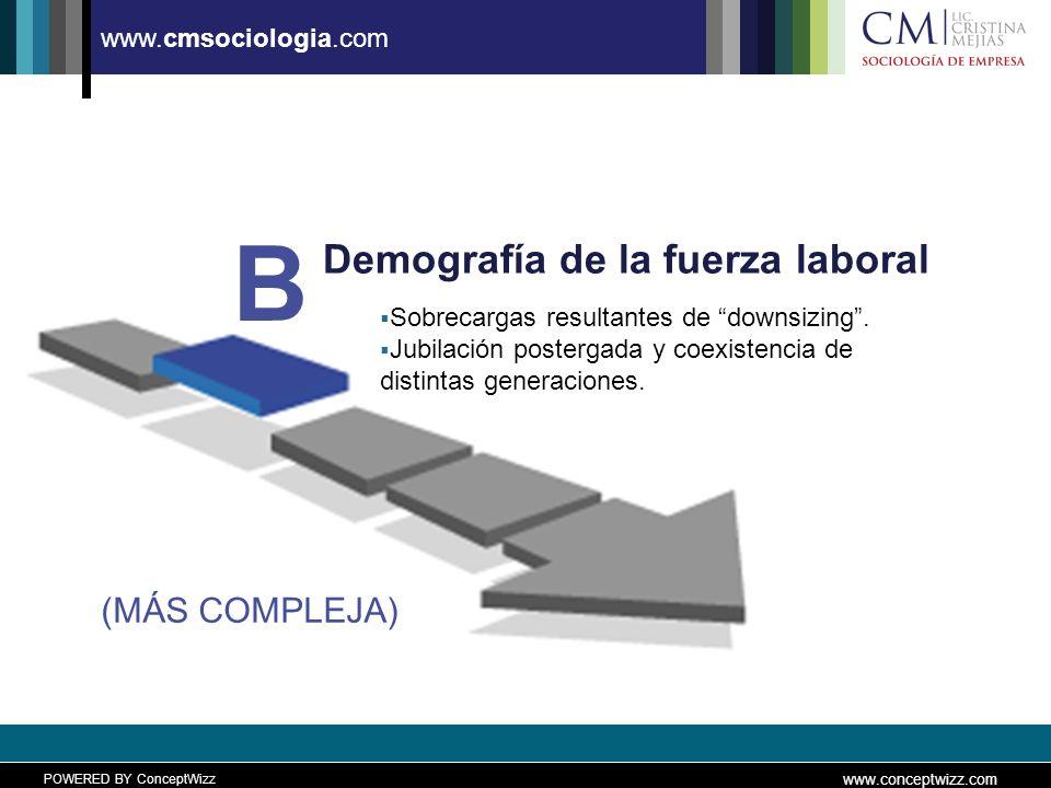 POWERED BY ConceptWizz www.conceptwizz.com www.cmsociologia.com Demografía de la fuerza laboral B (MÁS COMPLEJA) Sobrecargas resultantes de downsizing.