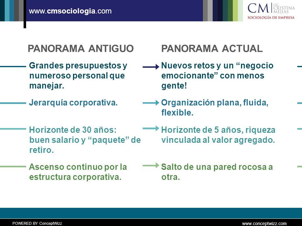 POWERED BY ConceptWizz www.conceptwizz.com www.cmsociologia.com PANORAMA ANTIGUO Grandes presupuestos y numeroso personal que manejar.