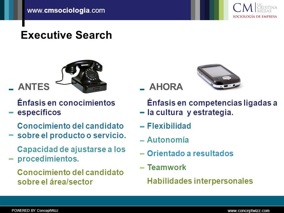 POWERED BY ConceptWizz www.conceptwizz.com www.cmsociologia.com Executive Search ANTES Énfasis en conocimientos específicos Conocimiento del candidato sobre el producto o servicio.