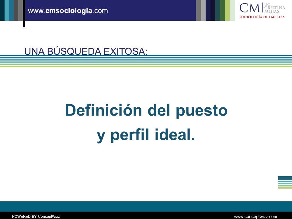 POWERED BY ConceptWizz www.conceptwizz.com www.cmsociologia.com UNA BÚSQUEDA EXITOSA: Definición del puesto y perfil ideal.
