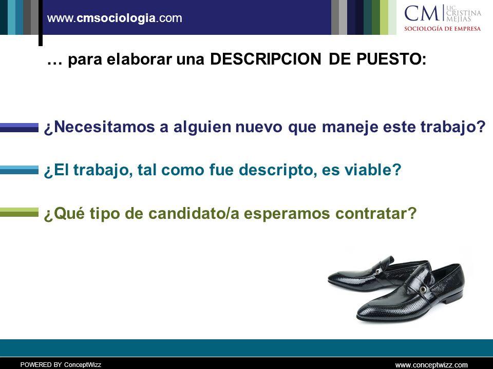 POWERED BY ConceptWizz www.conceptwizz.com www.cmsociologia.com … para elaborar una DESCRIPCION DE PUESTO: ¿Necesitamos a alguien nuevo que maneje este trabajo.
