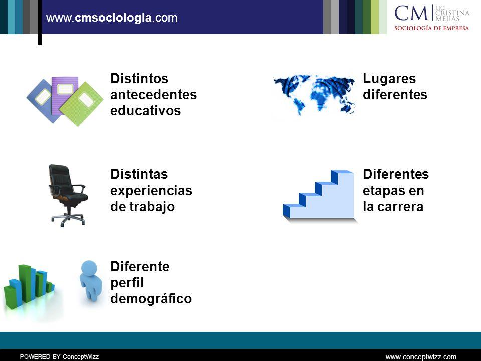 POWERED BY ConceptWizz www.conceptwizz.com www.cmsociologia.com Distintas experiencias de trabajo Diferente perfil demográfico Distintos antecedentes educativos Lugares diferentes Diferentes etapas en la carrera