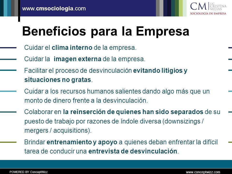 POWERED BY ConceptWizz www.conceptwizz.com www.cmsociologia.com Beneficios para la Empresa Cuidar el clima interno de la empresa.