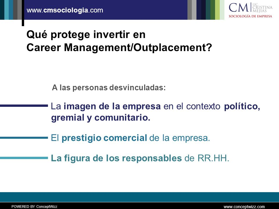 POWERED BY ConceptWizz www.conceptwizz.com www.cmsociologia.com Qué protege invertir en Career Management/Outplacement.
