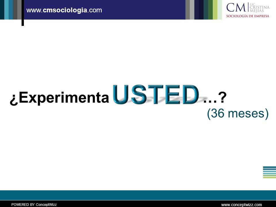 POWERED BY ConceptWizz www.conceptwizz.com www.cmsociologia.com ¿Experimenta…? (36 meses)
