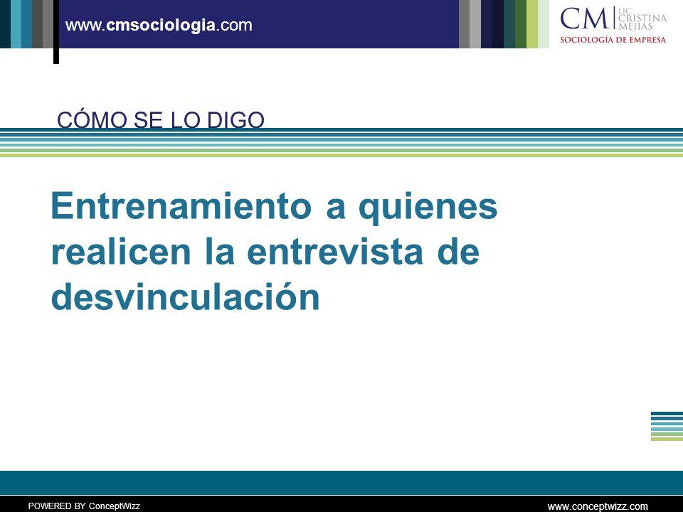 POWERED BY ConceptWizz www.conceptwizz.com www.cmsociologia.com Entrenamiento a quienes realicen la entrevista de desvinculación CÓMO SE LO DIGO