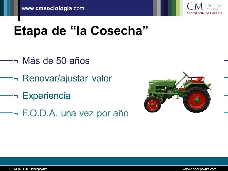 POWERED BY ConceptWizz www.conceptwizz.com www.cmsociologia.com Etapa de la Cosecha ¬ Más de 50 años ¬ Renovar/ajustar valor ¬ Experiencia ¬ F.O.D.A.