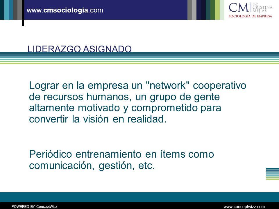 POWERED BY ConceptWizz www.conceptwizz.com www.cmsociologia.com LIDERAZGO ASIGNADO Lograr en la empresa un network cooperativo de recursos humanos, un grupo de gente altamente motivado y comprometido para convertir la visión en realidad.