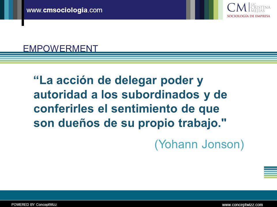 POWERED BY ConceptWizz www.conceptwizz.com www.cmsociologia.com EMPOWERMENT La acción de delegar poder y autoridad a los subordinados y de conferirles el sentimiento de que son dueños de su propio trabajo. (Yohann Jonson)