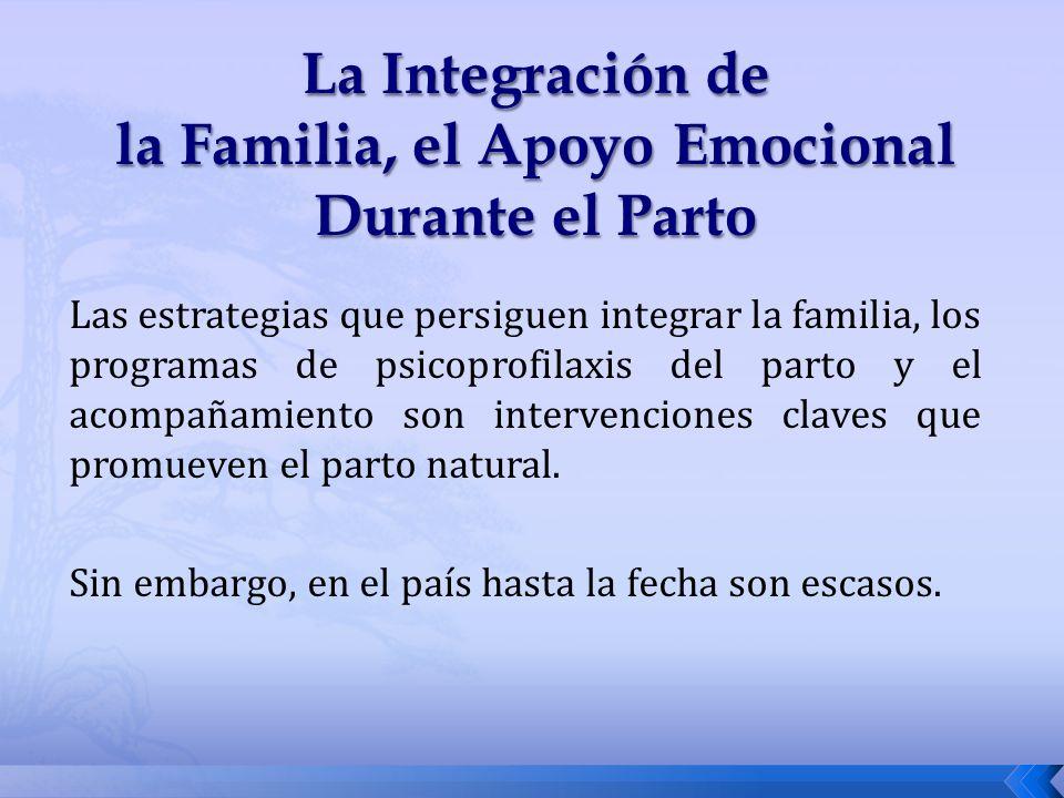Las estrategias que persiguen integrar la familia, los programas de psicoprofilaxis del parto y el acompañamiento son intervenciones claves que promue