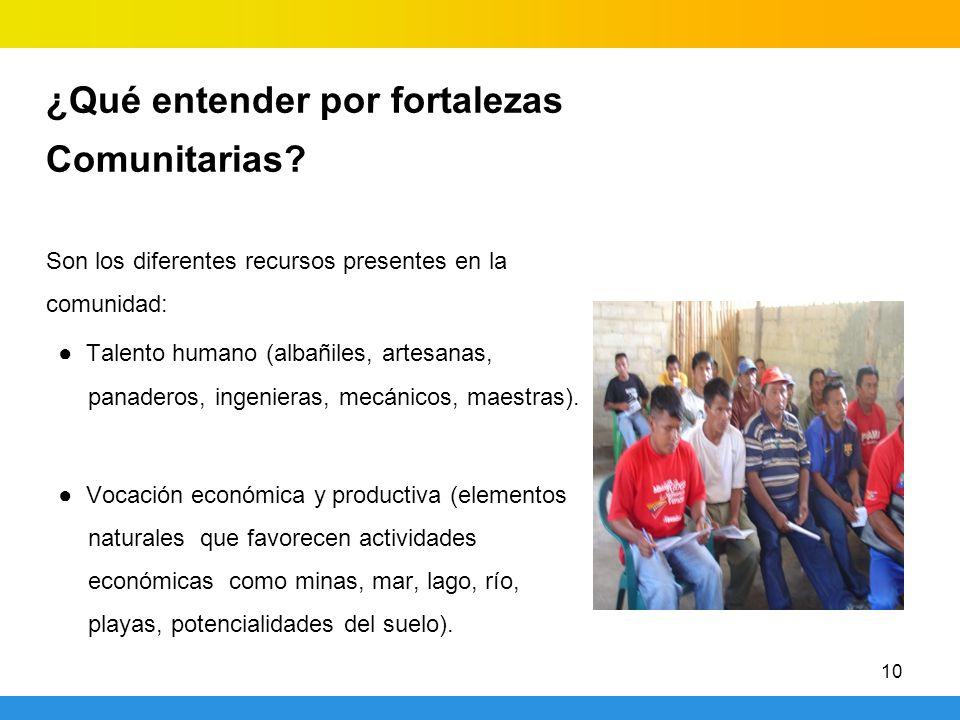 10 ¿Qué entender por fortalezas Comunitarias? Son los diferentes recursos presentes en la comunidad: Talento humano (albañiles, artesanas, panaderos,