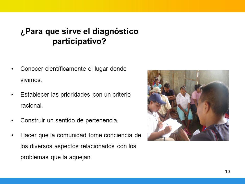 13 ¿Para que sirve el diagnóstico participativo? Conocer científicamente el lugar donde vivimos. Establecer las prioridades con un criterio racional.