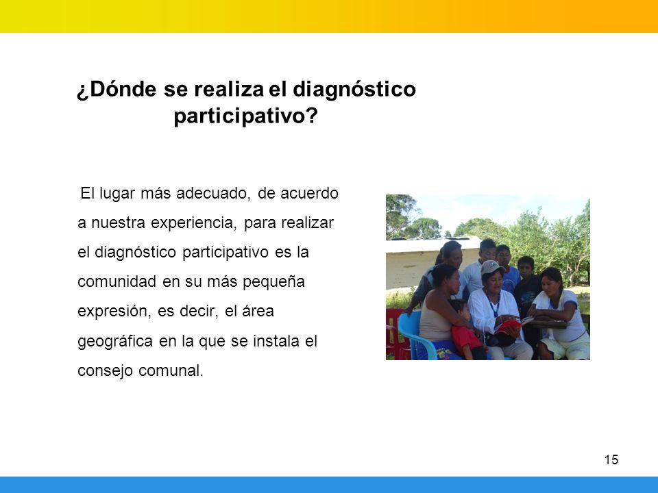 15 ¿Dónde se realiza el diagnóstico participativo? El lugar más adecuado, de acuerdo a nuestra experiencia, para realizar el diagnóstico participativo