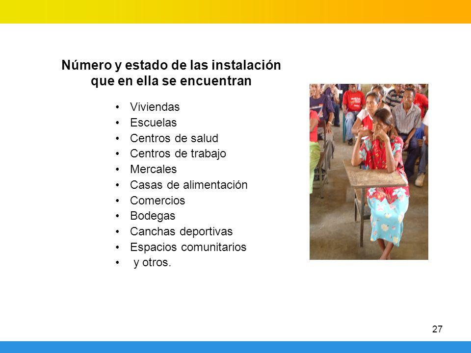 27 Viviendas Escuelas Centros de salud Centros de trabajo Mercales Casas de alimentación Comercios Bodegas Canchas deportivas Espacios comunitarios y otros.