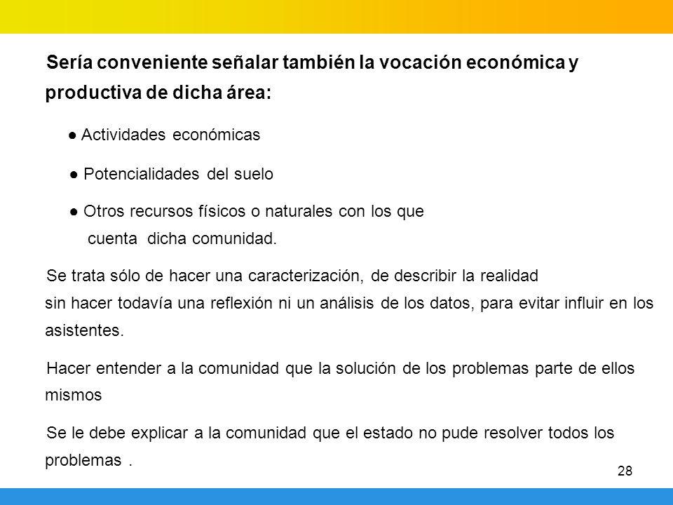 28 Sería conveniente señalar también la vocación económica y productiva de dicha área: Actividades económicas Potencialidades del suelo Otros recursos
