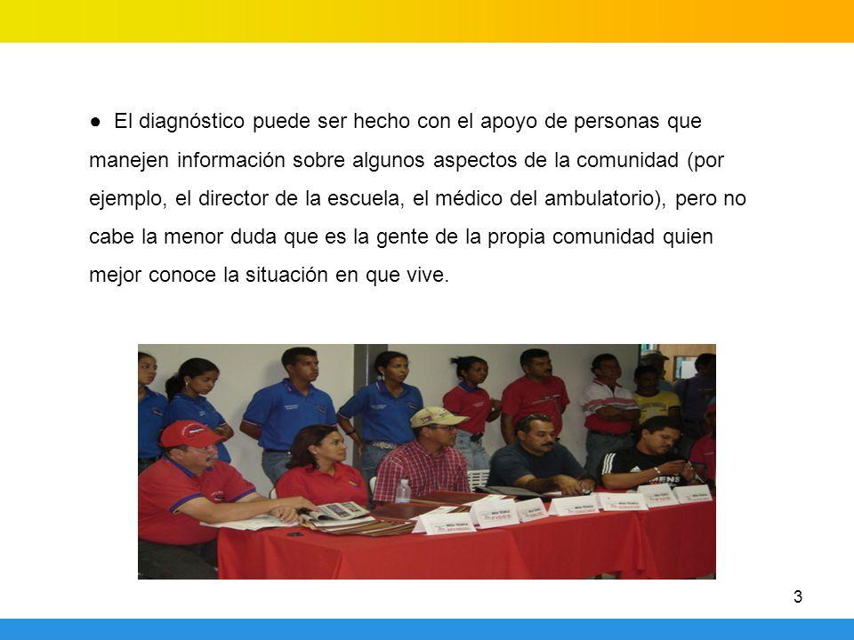 3 El diagnóstico puede ser hecho con el apoyo de personas que manejen información sobre algunos aspectos de la comunidad (por ejemplo, el director de