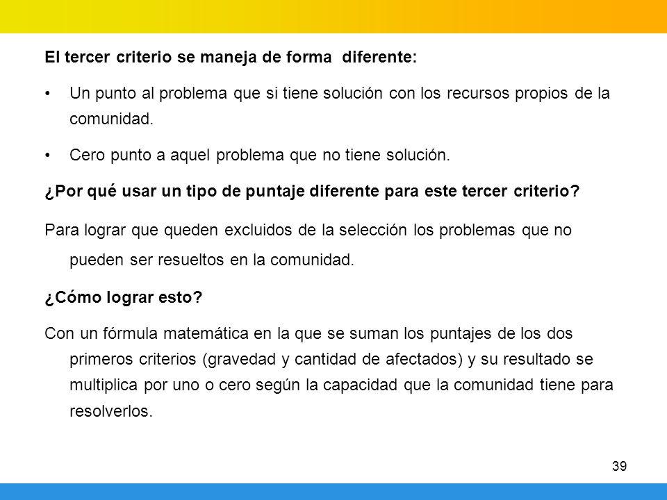 39 El tercer criterio se maneja de forma diferente: Un punto al problema que si tiene solución con los recursos propios de la comunidad. Cero punto a