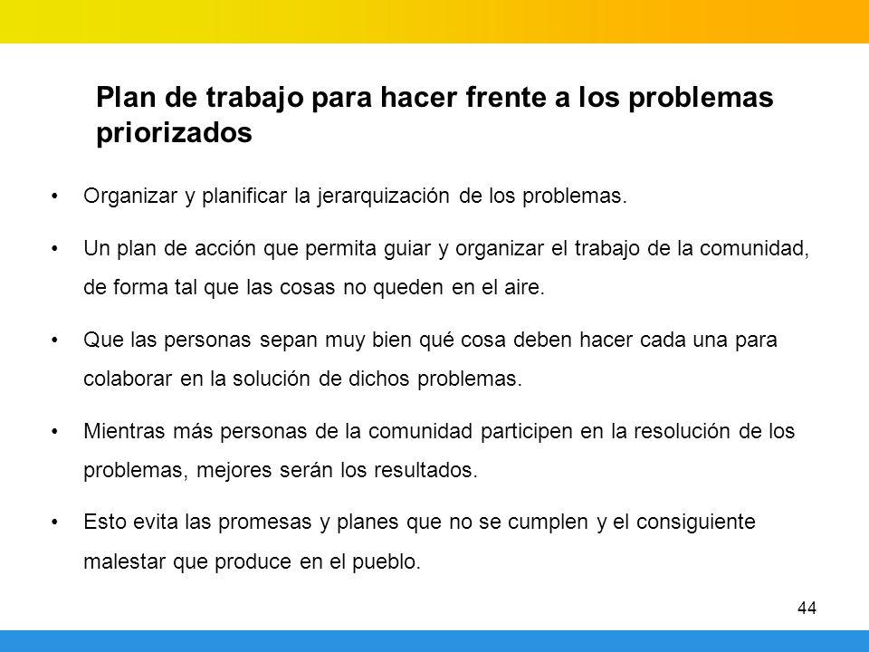 44 Plan de trabajo para hacer frente a los problemas priorizados Organizar y planificar la jerarquización de los problemas. Un plan de acción que perm
