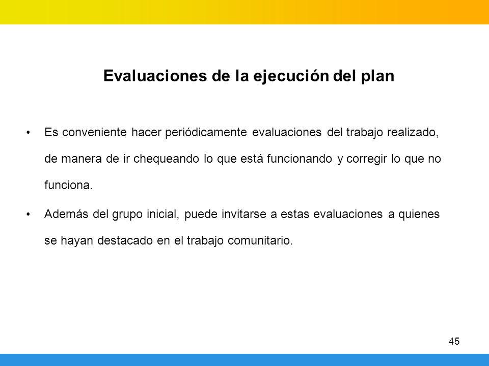 45 Evaluaciones de la ejecución del plan Es conveniente hacer periódicamente evaluaciones del trabajo realizado, de manera de ir chequeando lo que está funcionando y corregir lo que no funciona.