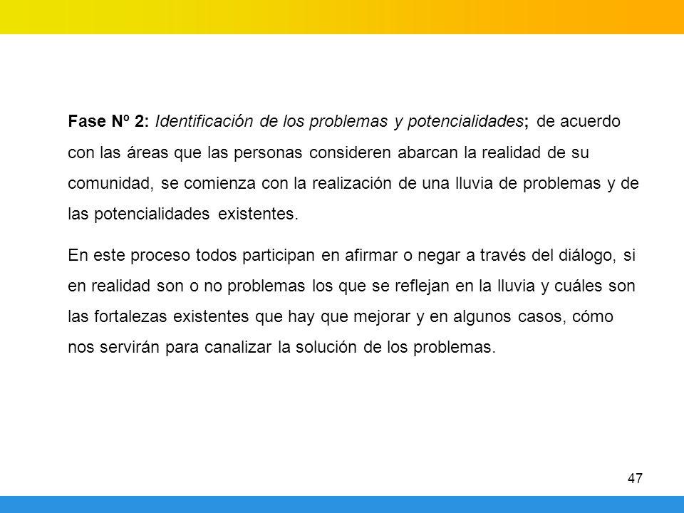 47 Fase Nº 2: Identificación de los problemas y potencialidades; de acuerdo con las áreas que las personas consideren abarcan la realidad de su comunidad, se comienza con la realización de una lluvia de problemas y de las potencialidades existentes.