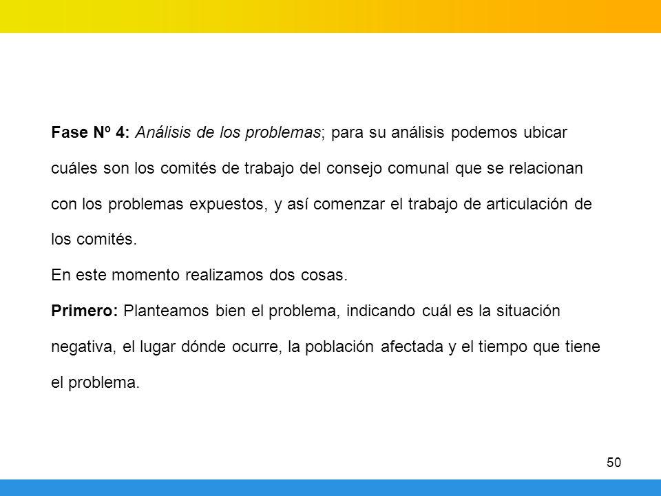 50 Fase Nº 4: Análisis de los problemas; para su análisis podemos ubicar cuáles son los comités de trabajo del consejo comunal que se relacionan con los problemas expuestos, y así comenzar el trabajo de articulación de los comités.