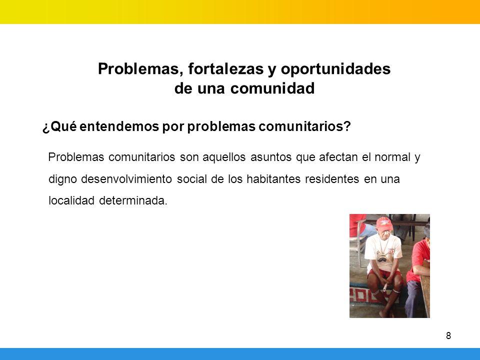 8 Problemas, fortalezas y oportunidades de una comunidad ¿Qué entendemos por problemas comunitarios? Problemas comunitarios son aquellos asuntos que a