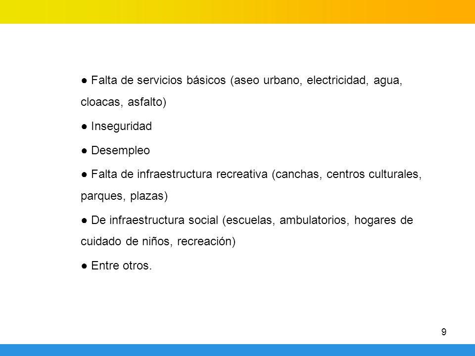 9 Falta de servicios básicos (aseo urbano, electricidad, agua, cloacas, asfalto) Inseguridad Desempleo Falta de infraestructura recreativa (canchas, c