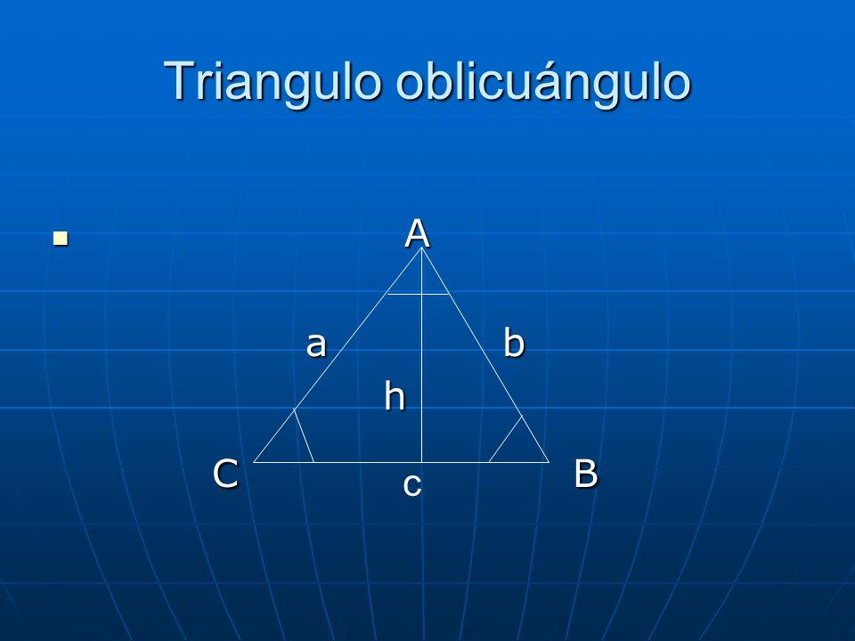 Triangulo oblicuángulo A A a b a b h h C B C B c
