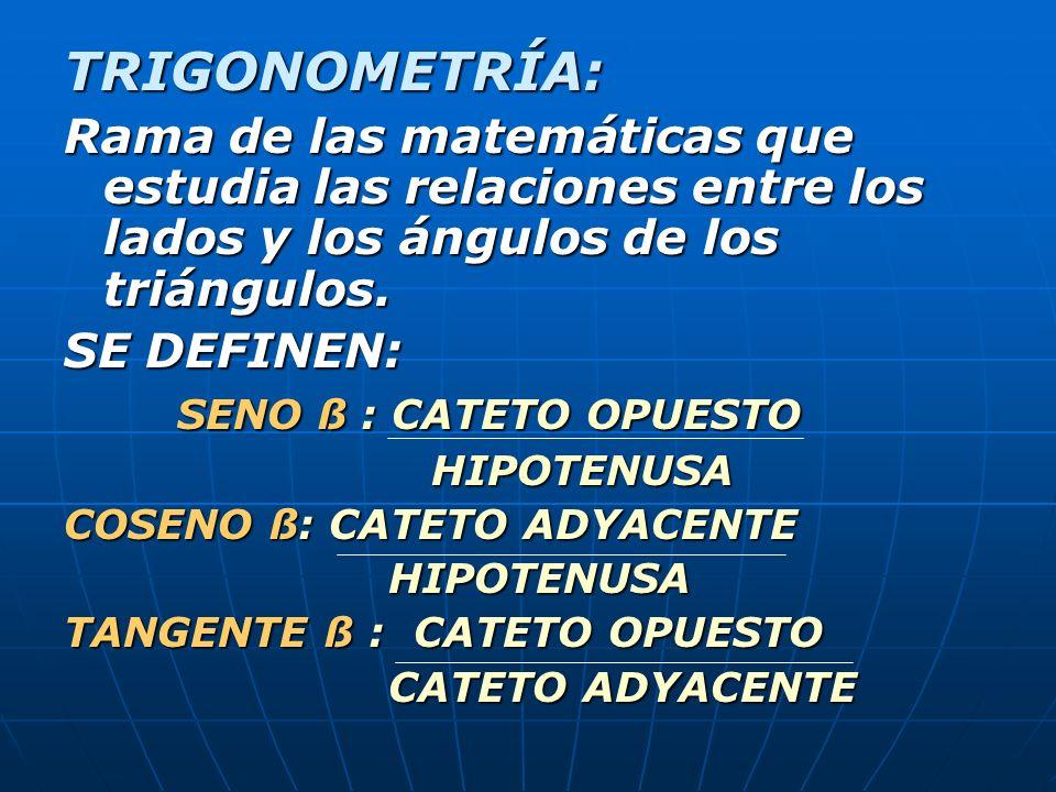 TRIGONOMETRÍA: Rama de las matemáticas que estudia las relaciones entre los lados y los ángulos de los triángulos. SE DEFINEN: SENO ß : CATETO OPUESTO