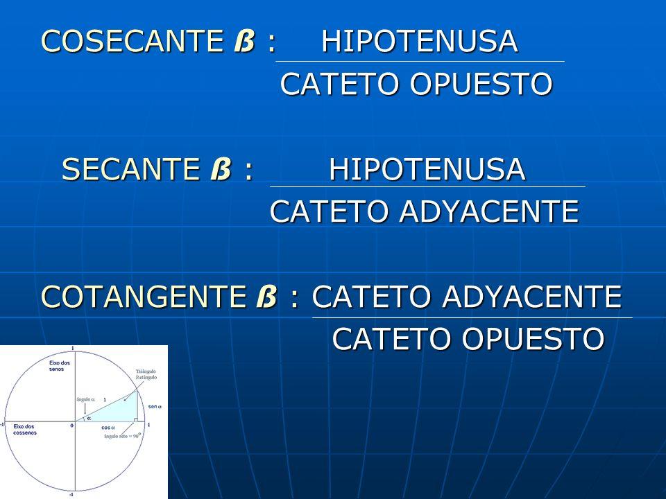 COSECANTE ß : HIPOTENUSA CATETO OPUESTO CATETO OPUESTO SECANTE ß : HIPOTENUSA SECANTE ß : HIPOTENUSA CATETO ADYACENTE CATETO ADYACENTE COTANGENTE ß :